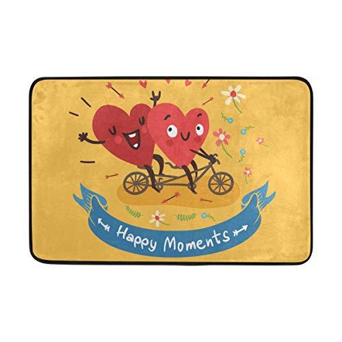 Joe-shop Hola, Bienvenida, Primavera, Verano, Corazones Felices, día de San Valentín, Amor, felpudos, tapetes, raspador de Zapatos para el hogar, Entrada Interior, Puerta Principal, 60x39 Pulgadas