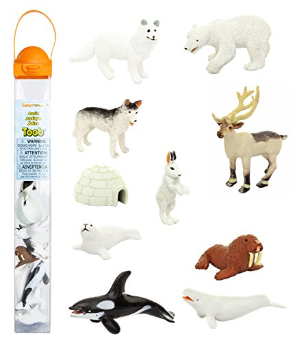 Safari Ltd Arctic TOOB With 10 Fun Figurines, Including A Harp Seal, Husky, Caribou, Arctic Rabbit, Killer Whale, Walrus, Arctic Fox, Beluga Whale, Igloo, And Polar Bear  For Ages 3 and Up