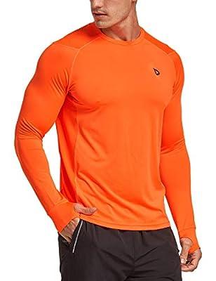BALEAF Men's Athletic Long Sleeve Outdoor Shirts Thumb Holes Breathable SPF Hiking Tshirts Drifit Workout Tops Orange XL