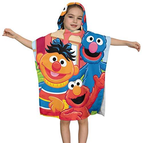 Stars.YingJ Coo-Kie El-Mo Monster Baby Kids Hooded Fluffy Bath Towel Microfiber Summer Beach Poncho Cape Towel Wrap Robe Cloak for Children 2 to 7 Years