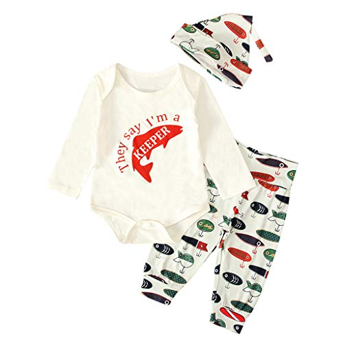 3Pcs Newborn Baby Boy Clothes Long Sleeve Letter Print Romper Tops+Print Long Pants Hat Outfits Set White