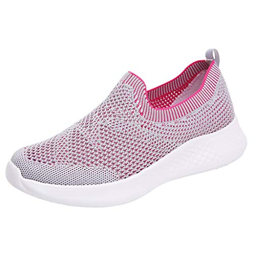 Women's Athletic Walking Shoe Mesh Breathable Comfortable Casual Sneakers, Slip-On Mother Runing Shoes (Hot Pink, 5.5)