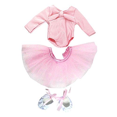 MagiDeal Puppenkleidung Ballett Tanz Anzug Satz Bekleidung für 18 Zoll Puppe - Pink