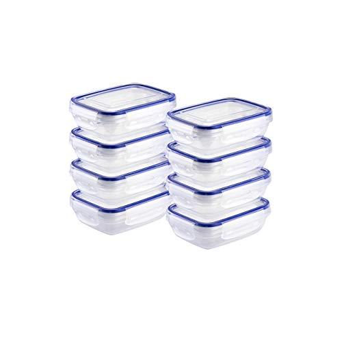 Grizzly Frischhaltedosen Set Rechteckig flach 8 x 310 ml Vorratsdosen mit Deckel 100% Luft-und Wasserdicht