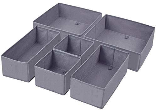 Dresser Drawer Organizer, Foldable Cloth Storage Box Closet Cube Basket Bins Containers Divider with Drawers for Underwear, Bras, Socks, Ties, Scarves, Set of 6, Grey