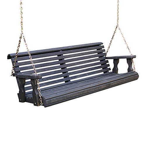 Amish Heavy Duty 800 Lb Roll Back Treated Porch Swing with Hanging Chains (4 Foot, Semi-Solid Black Stain)