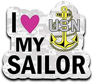 More Shiz I Love My Sailor Navy USN Vinyl Decal Sticker Car Truck Van SUV Window Wall Cup Laptop - One 6 Inch Decal- MKS0651