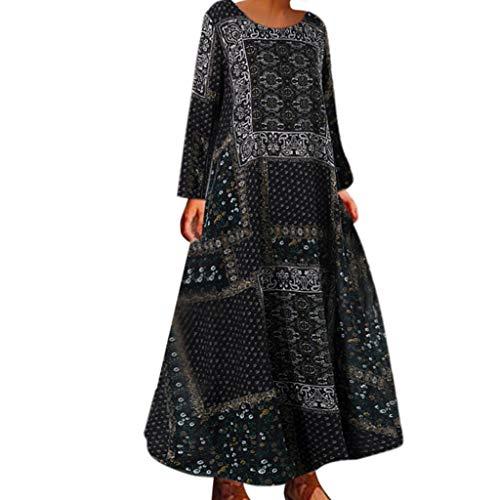 Damen Beiläufige Lose Kleid Fest Langarm Boho Lang Maxi Kleid S-5XL Schwarz/Weiß/Rot/Gelb