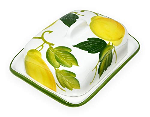 Lashuma Handgemachte Butterdose aus Italienischer Keramik im Zitronendesign, Butterschale Größe 18 x 14 cm