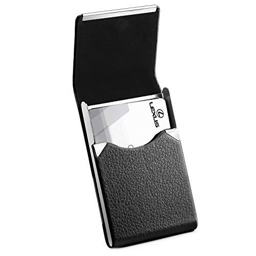 MaxGear Business Card Holder Business Card Case PU Leather Name Card Holder Slim Business Cards Holder Wallet Professional Business Card Carrier Slim Metal Pocket Card Holder with Magnetic Shut Black