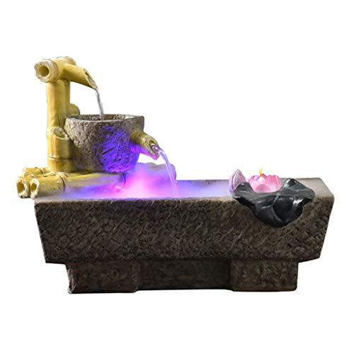 Fontaines de table Creative Desktop résine résine moulin à pierre pot cascade Desktop Fontaine petit étang à poissons cascade atomiseur humidificateur intérieur chambre décoration Augmentez l'atmosphè