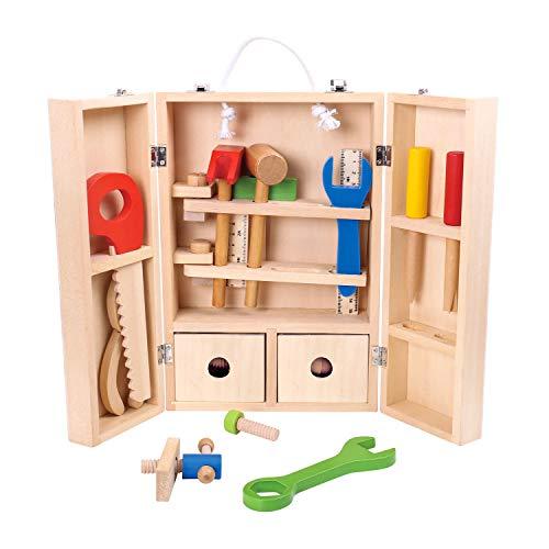Tooky Toy Kinder Werkzeug Koffer mit Zollstock, Hammer, Säge, Schraubenzieher uvm. - Holz-Spielzeug - Werkzeugkasten Set für Kinder ab 3 Jahren