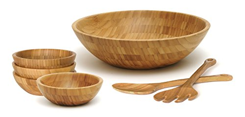 Lipper International Bamboo Wood Salad Bowls with Server Utensils, 7-Piece Set, Assorted Sizes