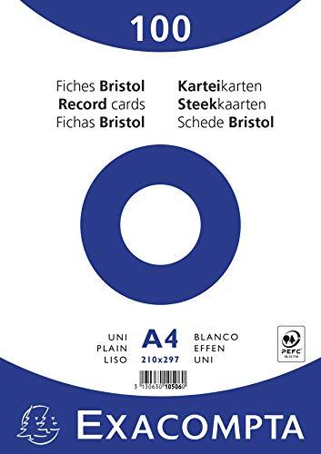 Exacompta 10506E Paquet de 100 Fiches Bristol sous film 21 x 29, 7 cm Uni non perforées Blanches