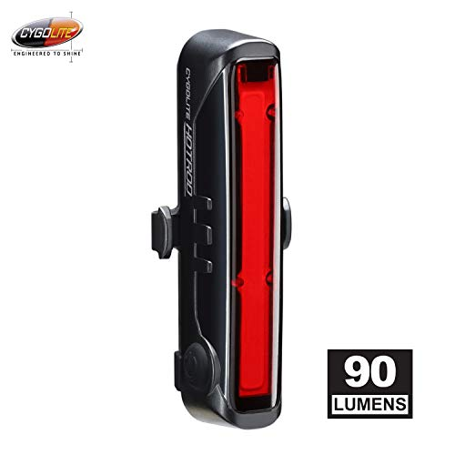 Cygolite Hotrod – 90 Lumen Bike Tail Light - 6 Night & Daytime Modes– Wide Glowing LEDs- Compact & Sleek– IP64 Water Resistant– Sturdy Flexible Mount- USB Rechargeable–Great for Busy Roads