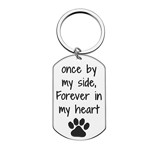 Loss of Pet Memorial Keychain Present for Dog Mom Pet Owner Dog Men Dog Cat Remembrance Sympathy Key Chain Present with Paw Print Dog Jewelry for Friends Family Forever in My Heart Keyring