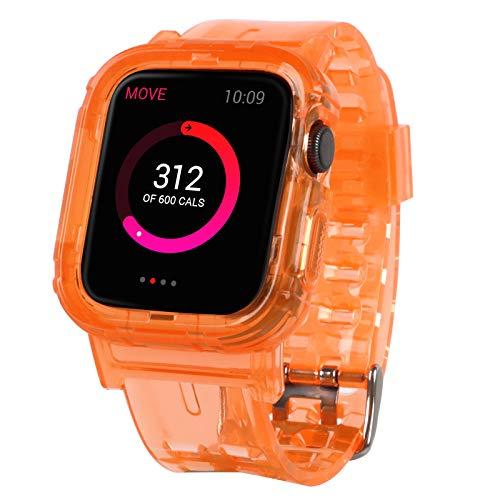 Imikoko Compatible con Apple Watch, 42 mm y 44 mm, transparente, resistente, antigolpes, deportivos, cristal suave, TPU, para Apple Watch Series 6/5/4/3/2, color naranja