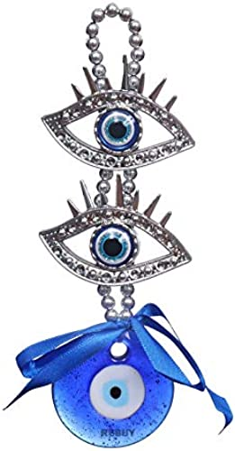 REBUY Vastu Feng Shui Evil Eye Wall Hanging for Good Luck Prosperity Success Health Wealth Office Home Decor Car Two Eye