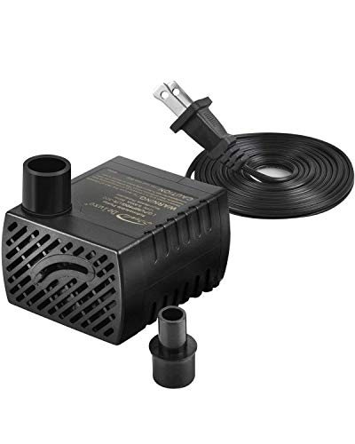 Simple Deluxe 80 GPH Submersible Pump with Adjustable Intake & 6' Waterproof Cord for Fish Tank, Hydroponics, Fountains, Ponds, Statuary, Aquariums, Black
