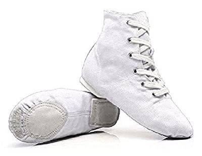 NLeahershoe Lace-up Canvas Dance Shoes Flat Jazz Boots for Practice, Suitable for Both Men and Women (2.5K/34, white)