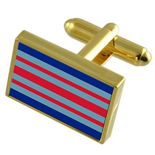 Select Gifts Marschall RAF Militairy England Gold Manschettenknöpfe graviert Box