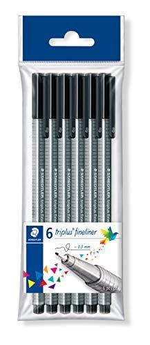 STAEDTLER 334-9 PB6 triplus Fineliner dreikant, 0,3 mm, 6 Stück schwarz in Polybeutel