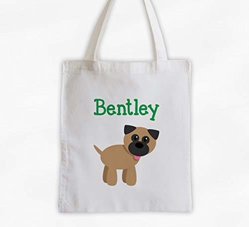 Puppy Dog Kids Tote Bag - Personalized Cotton Overnight Bag for Girls, Boys, or Pets (3010-BU)