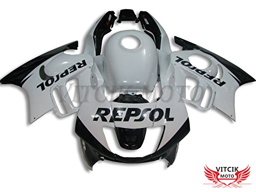 VITCIK (Fairing Kits Fit for Honda CBR600F3 CBR600F 1997 1998 CBR 600 F3 97 98) Plastic ABS Injection Mold Complete Motorcycle Body Aftermarket Bodywork Frame (White & Black) A017