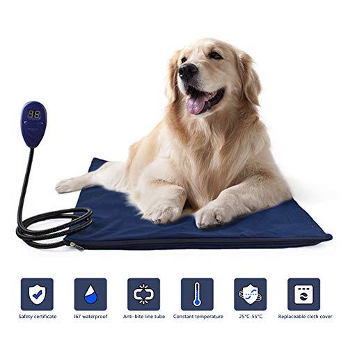 Warmtekussen voor huisdieren, grote elektrische deken voor honden en honden, staalkabel tegen kauwen, thermostaat, krasbestendig, IP67, blauw