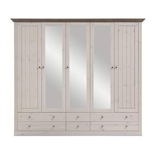 Steens Monaco Kleiderschrank, 5 Türen, 228 x 201 x 60 cm (B/H/T), Kiefer massiv, weiß/grau