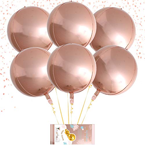 Eanjia Hangable 6 Count 16 Rose Gold 4D Large Round Sphere Aluminum Foil Balloon Mirror Metallic Rose Gold Balloon Birthday Party Rose Gold Grad Balloons Wedding Baby Shower Marriage Decor Supplies