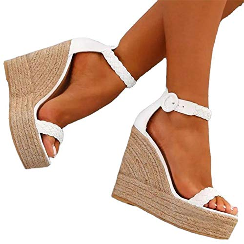 MTHDD Sandales Femme Gladiator Peep Fermeture Toe Sandales Simple Party Casual Prom Chaussures,Blanc,43
