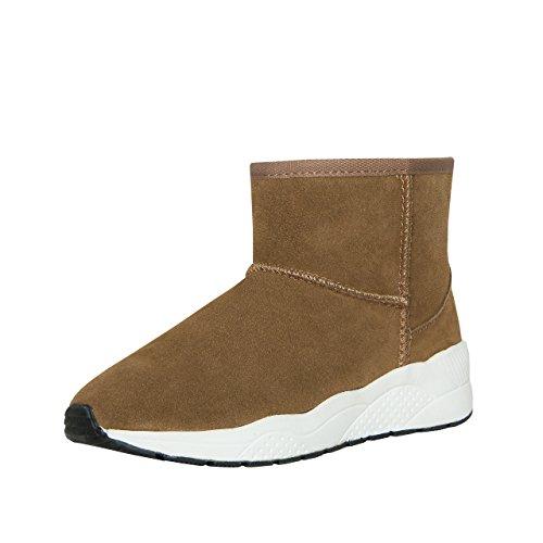 SKUTARI® Sneaker Boots, gemütliche Lederstiefel mit kuscheligem Kunstfell, sportliche Damen-Stiefel aus Leder, handgefertigt in Italien, Winterschuhe, Schlupfstiefel, Stiefeletten warm gefüttert