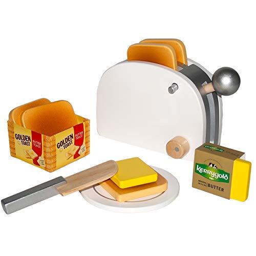 #11 Holz-Toaster mit Golden Toast Brot und Kerrygold Butter - Toaster Kaufladen Zubehör Kinderküche Kaufmannladen