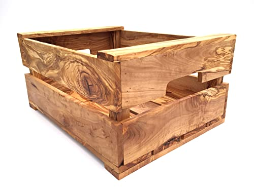 Caja hecha a mano de madera de olivo, tamaño L, 40 x 30 x 19 cm, almacenamiento de verduras, caja de fruta, caja de madera de alta calidad
