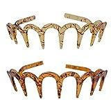 Fodattm 2 diademas de plástico con dientes de tiburón Zig Zag para el pelo de las mujeres, accesorios para el pelo (D#)