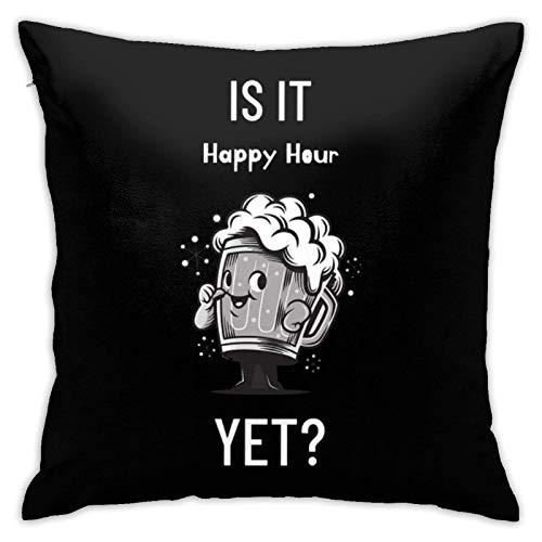 is It Happy Hour Yet - Fundas de cojín para sofá, decoración del hogar, 45,7 x 45,7 cm