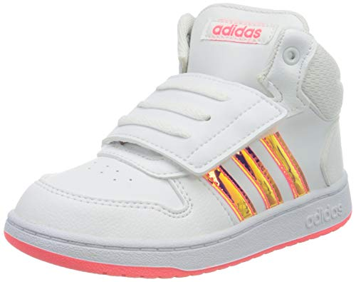 adidas Unisex Kinder HOOPS MID 2.0 I Sneaker, Ftwbla/Ftwbla/Rossen, 21 EU