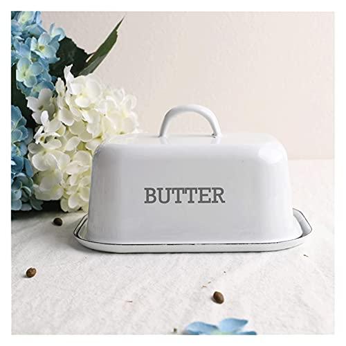 Mantenga la comida fresca Plato de mantequilla de esmalte con tapa, un recipiente de mantequilla gruesa que se puede usar para mantequilla, mantequilla y pasteles un hermoso regalo para amigos y famil