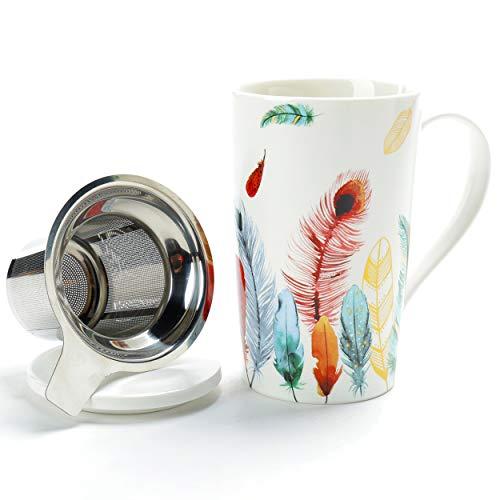 Bone China Teetasse (510ml) mit Diffusor und Deckel, TEANAGOO, Büro-Teetasse mit starker Belastung Steeper - Feder, Brühsieb für lose Blätter Tee, ein Tee-Trinkfilterset für Teeliebhaber