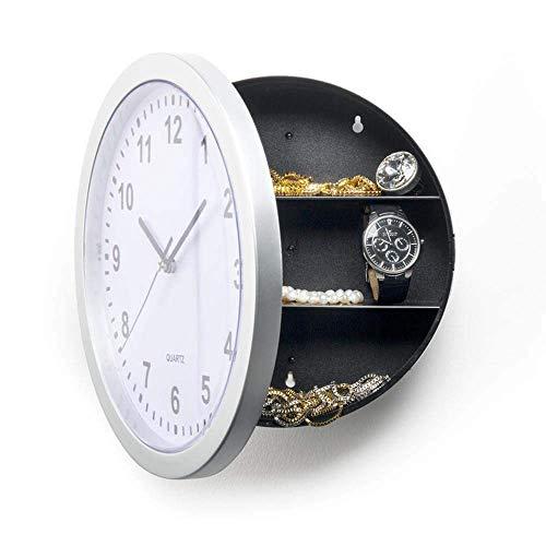 kyman Reloj de Pared Clock Silver Safe Jewelry Box Reloj Reloj Caja de Almacenamiento Caja de Seguridad Reloj de Pared