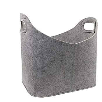Foldable firewood Basket Made of Felt Portable for firewood Storage Bag for Newspapers and Magazines X  Color   Gray