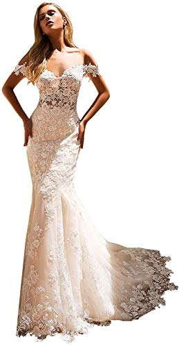 Meganbridal Women's Off Shoulder Cap Sleeves Lace Ball Gown Mermaid Wedding Dresses for Bride with Train Long White