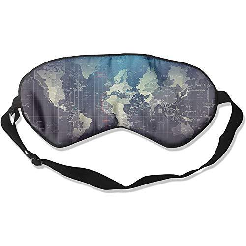 Sleep Eye Mask Map Wereld Zachte Blinddoek Verstelbare Hoofd Strap Oogschaduw Reizen Eyepatch