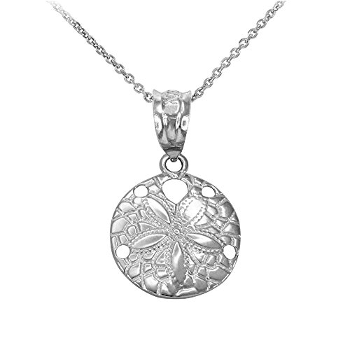 Dainty Sterling Silver Sea Star Charm Sand Dollar Round Pendant Necklace, 16'