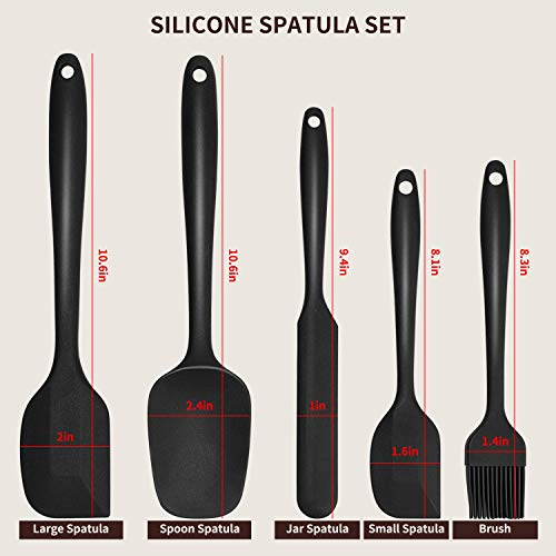 Nonstick Silicone Spatula Set 5PCS ONLYWIN Kitchen Cookware Utensils Sets Heat Resistant 500℉ BPA Free Dishwasher Safe Mini Spatula Baking Scraper and Brush for Cooking,Black