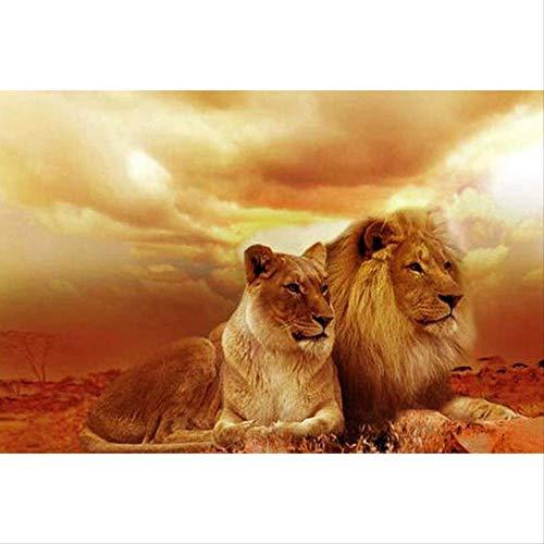 DIY diamant mozaïek foto van steentjes tijger met leeuw diamant borduurwerk diamant schilderij kruissteek behang