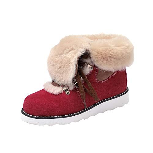 ShenDuo Damen Schlupfstiefel Hochwertige Schnürstiefel Warm Gefüttert Winter Boots D9158 Rot 38