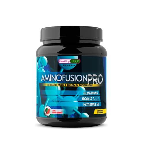 Aminofusion PRO | BCAAs + glutamina + vitamina B6 | BCAA 100% puros | Suplemento para deportistas | Aumenta tu masa muscular | Retrasa la fatiga y acelera la recuperación | Sabor Sandía | 30 dosis