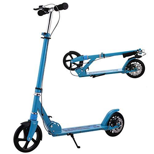 Profun Trottinette Adulte Piable Grande Roue(200mm) Scooter en Aluminum avec Frein à Main, Hauteur Réglable pour Les Hommes/Femmes(130cm-185cm),Maximal 100KG Bleu